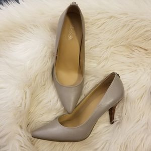 Gray saffiano leather heels